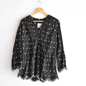 Style&Co Black White Floral Boho Bell Sleeve Top